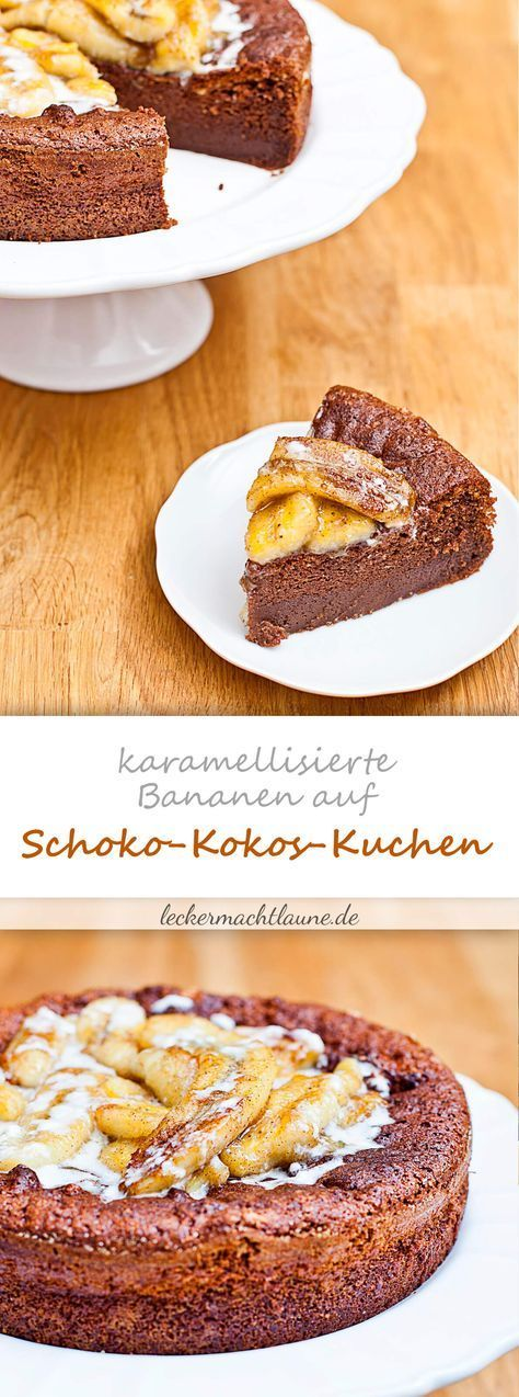 Schoko-Kokos-Kuchen mit karamellisierten Bananen