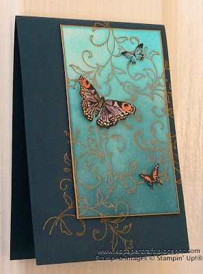 handmade card from KB Papercraft: Butterflies in Flight ... teal and turquoise with gold embossed flourishes and gold leafing pen edged panel ... gorgeous look reminds me of brocades and fancy ball gowns ... delightful!! ... Stampin'Up!