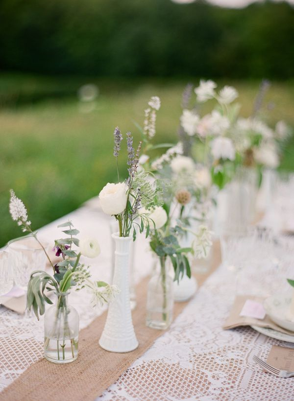 milk glass centerpieces // photo by Hunter Photographic, styling by Baci Designers // http://ruffledblog.com/lavender-farm-elopement-shoot