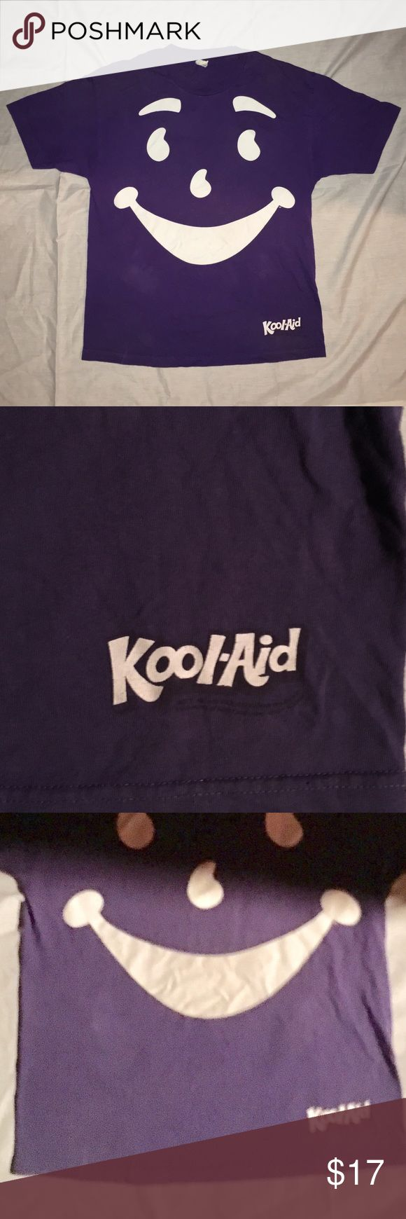 Old school kool-aid man t shirt Purple kool-aid man t shirt. No holes stains or pulls. It has some fading - see third pic for more accurate color. Alstyle brand - retro hipster vintage Tops Tees - Short Sleeve