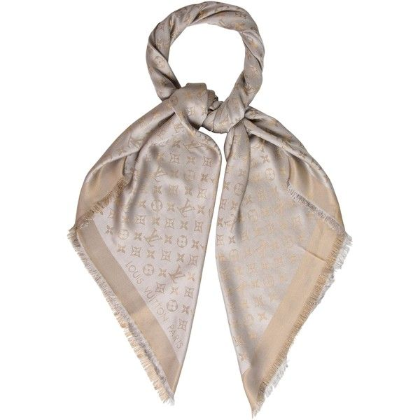 Pre-owned Louis Vuitton Monogram Shine Shawl ($525) ❤ liked on Polyvore featuring accessories, scarves, gold, metallic scarves, print scarves, shawl scarves, metallic shawl and patterned scarves
