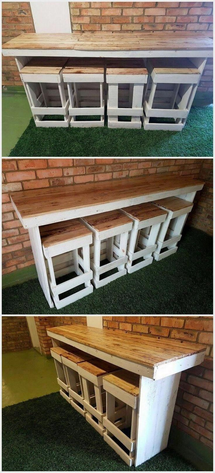 Pallet Bar Table with Stools ad