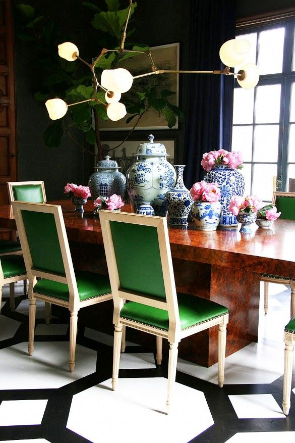 Dining room detail with green chairs
