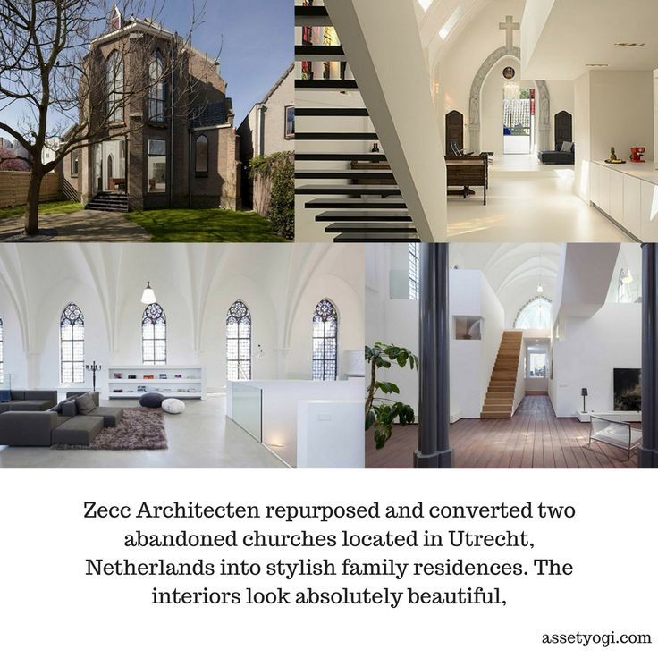 Zecc Architecten repurposed and converted two abandoned churches located in Utrecht, Netherlands into stylish family residences. The interiors look absolutely beautiful, #RealEstate #Architecture #AssetYogi