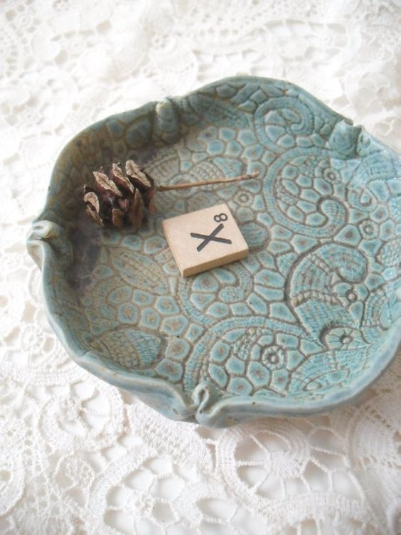 Clay Soap Dish with Vintage Lace Patter: