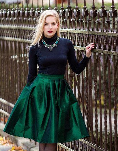 Green Midi Skater Skirt | Choies