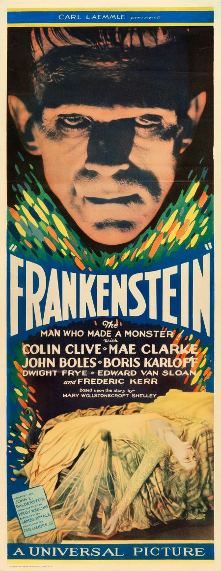 Frankenstein (1931) Boris Karloff, directed by James Whale. Original movie poster.  Horror film.    http://scottgronmark.blogspot.co.uk/2016/03/my-alternative-to-american-film.html.