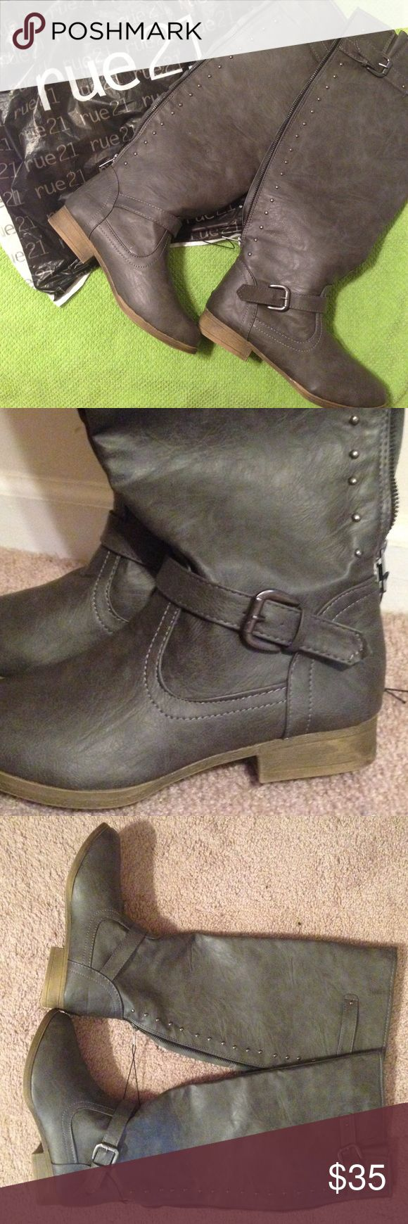 Sale! Grey Boots Grey boots that cover the calf. Zip up the back. Never worn. Rue 21 Shoes