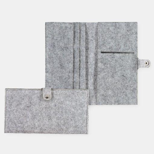 Kit filt rejse etui 15x20cm lys grå mel. - STOFF & STIL