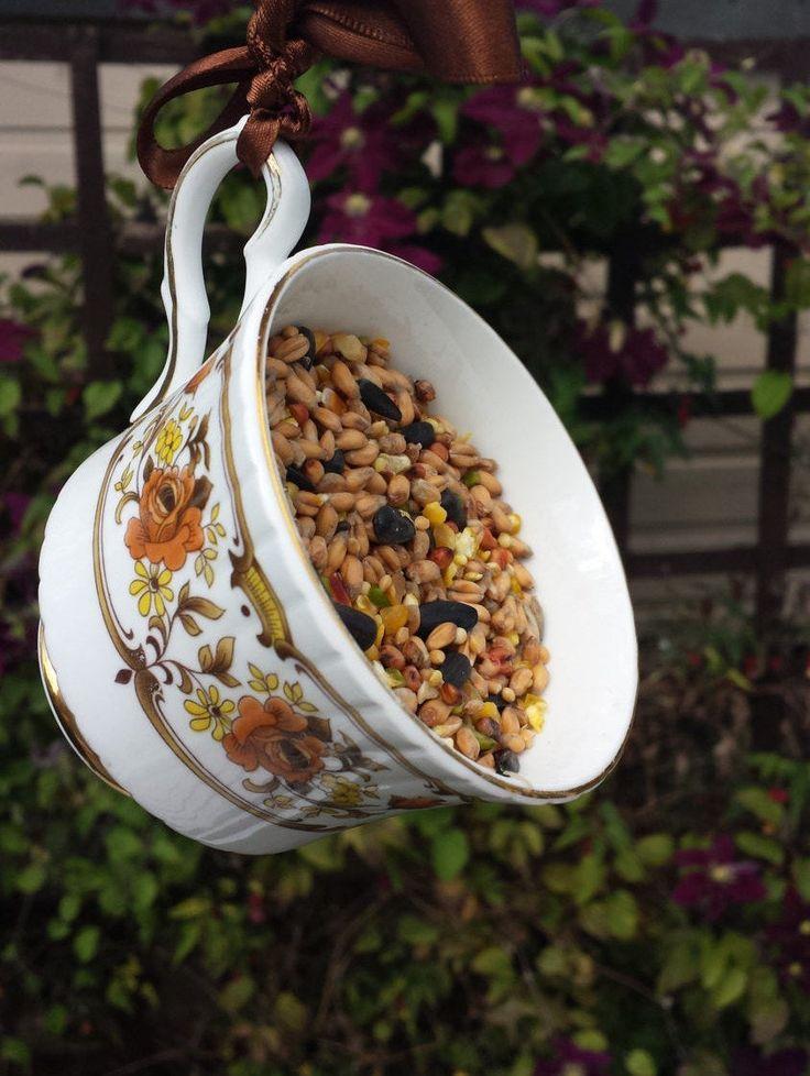 Teacup bird feeder autumnal garden ornament, vintage china
