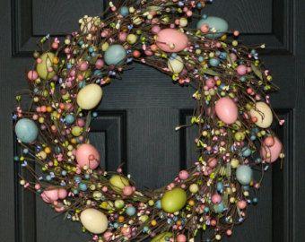 Easter Wreath Pastel Door Wreath Spring Wreath by ElegantWreath