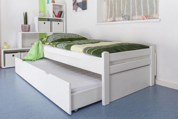 """Einzelbett / Gästebett """"Easy Sleep"""" K1/1h inkl. 2. Liegeplatz und 2 Abdeckblenden, 90 x 200 cm Buche Vollholz massiv weiß lackiert, Steiner Shopping"""