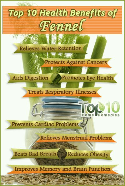 Prev3 of 3Next post 9. Promotes Eye Health Researchers at the Delhi Institute of Pharmaceutical Sciences & Research have found that fennel may help reduce eye pressure and promote the dilation of blood vessels. Thus, it may help prevent or treat glaucoma, a vision-impairing disease. However, further research and evaluation is needed in this regard.