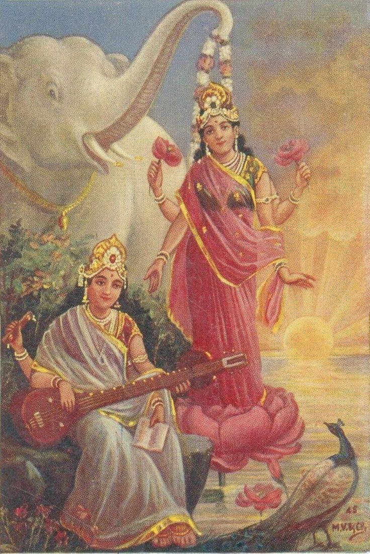 Hindu Cosmos - Goddess Lakshmi and Saraswati  India vintage old card,...