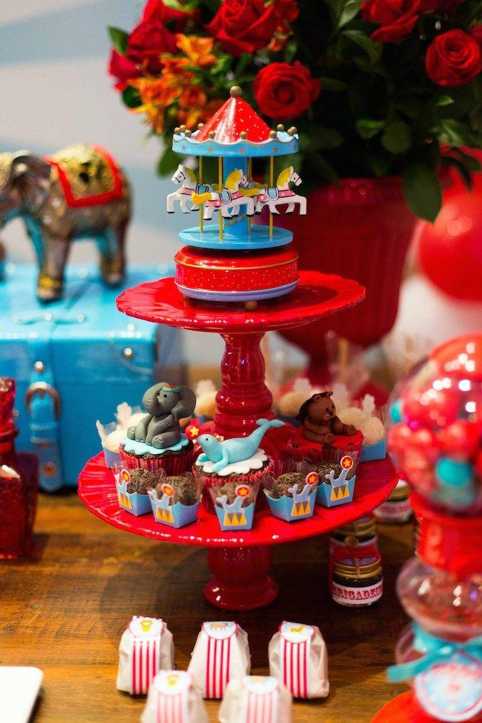 Circus themed birthday party via Kara's Party Ideas KarasPartyyIdeas.com #circusparty #bigtocircus #circuspartyideas (23)