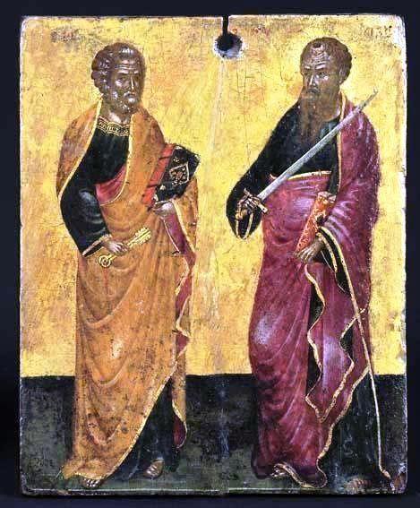SS. Peter & Paul. Cretan c.1500 Attributed to N.Tzafouris.. H.Korban collection
