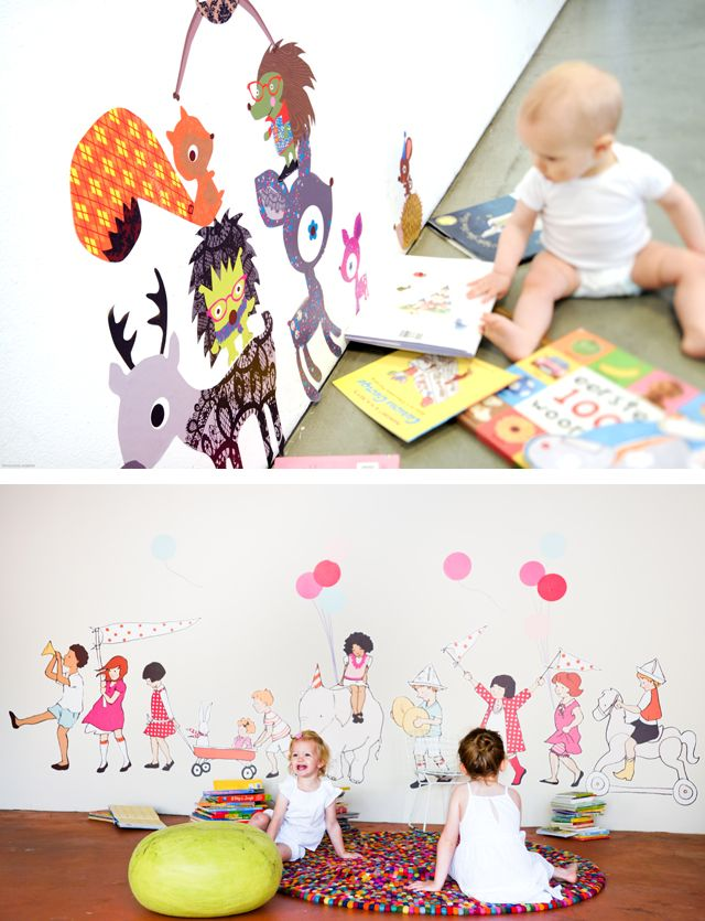 Gorgeous fabric and reusable wall decals for kids' spaces- I love them all! Such a great impressive gift that doesn't add a bunch of clutter to the house too.