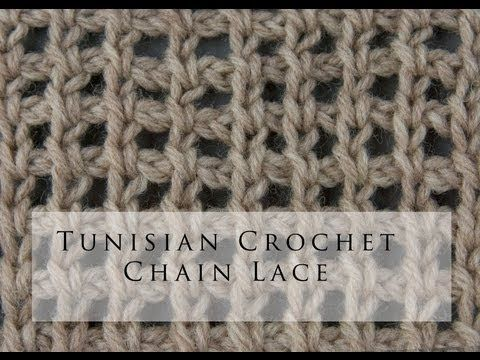 ▶ Tunisian Crochet Chain Lace - YouTube