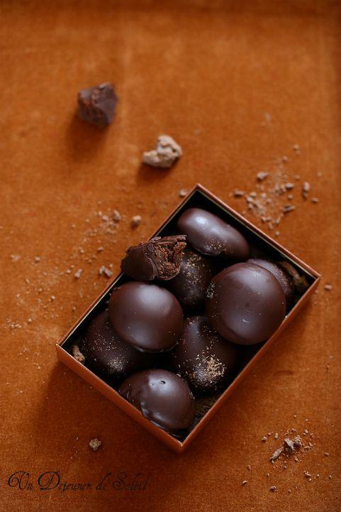 Chocolats ganache with caramel