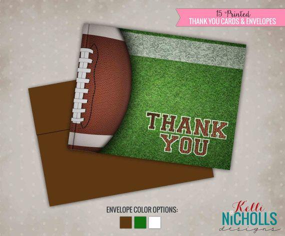 Football Thank You Cards Custom Thank You by KelliNichollsDesigns