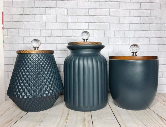 Contemporary Modern Geometric Textured Kitchen Canisters Navy Blue Anvil Gray Canister Set Modern Kitchen Canisters Kitchen Decor Modern Kitchen Canisters