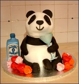 Panda cake This will make you giggle We promise! ;-) #Panda #Cake And the panda likes a tipple! :-))) Too sweet!