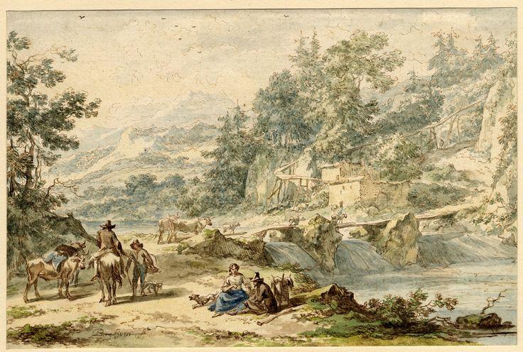 Горный пейзаж с мостом через реку 1635-83 (148 х 225 мм) перо, коричневые чернила и акварель. Nicolaes Berchem (1620-1683)