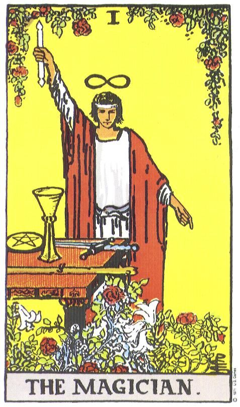 """The Magician, Rider-Waite Tarot:  """"When the Magician appears in a spread, it points to the talents, capabilities and resources at the querent's disposal. Depending on the card's placement in relation to other cards, the message is to tap into one's full potential rather than holding back, especially when there is a need to transform something."""""""