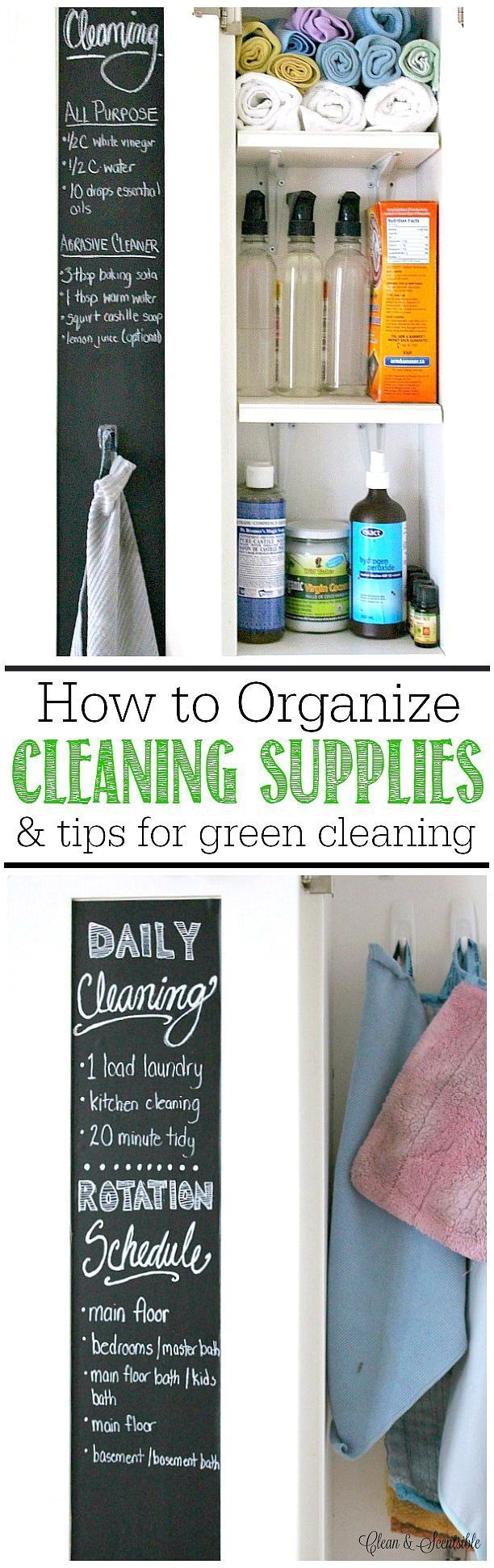 How to organize cleaning supplies and tips for green cleaning.