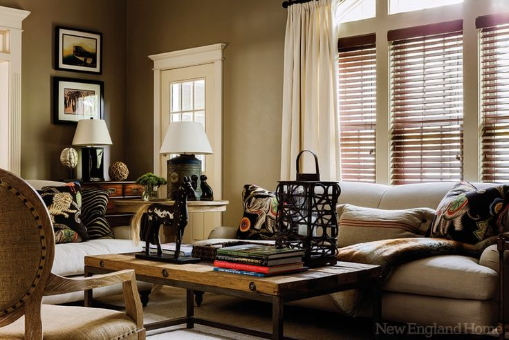 living room soft neutral paint fabric colors wood blinds