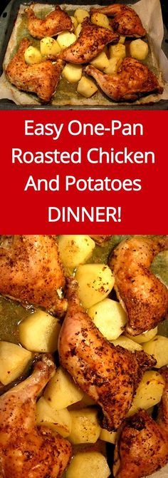 Easy One-Pan Roasted Chicken And Potatoes Recipe | http://MelanieCooks.com