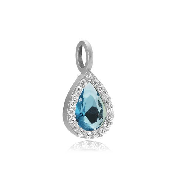 GODDESS pendant with a blue zirconia drop surrounded by many small zirconias in matt white sterling silver - Danish design jewelry by Izabel Camille. Price: EUR 45 No. A5120sw-blue www.izabelcamille.com