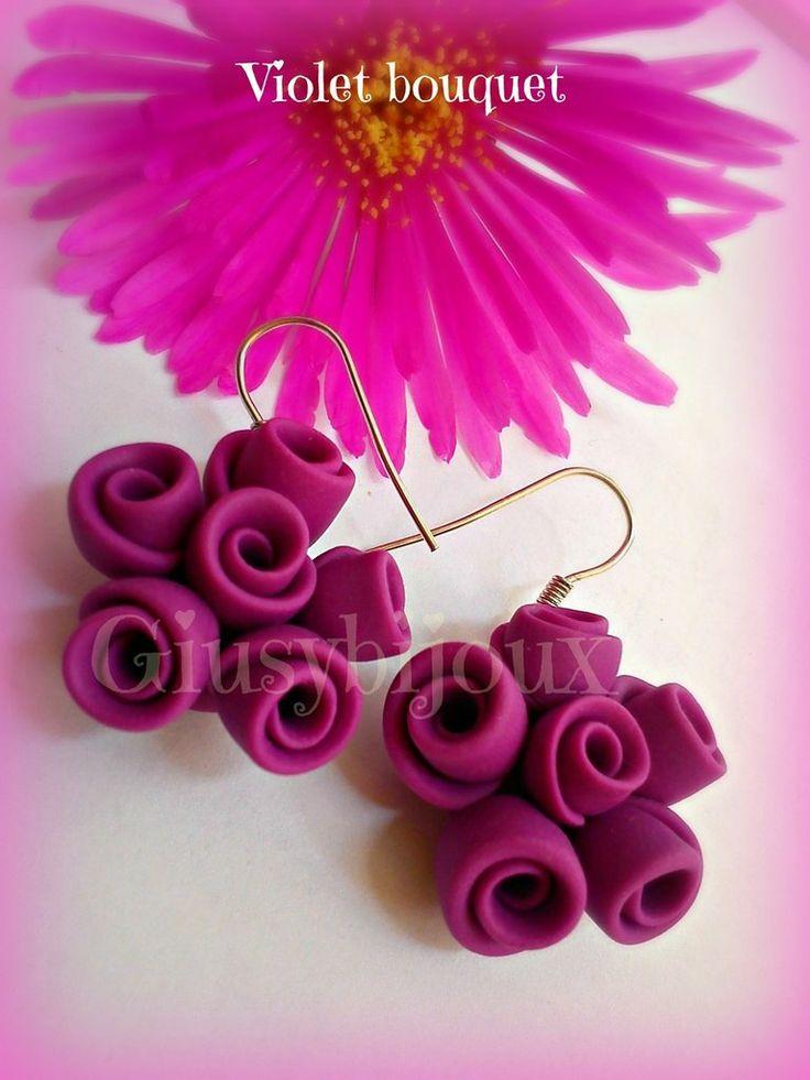 #Orecchini  #pendenti  Violet #Bouquet di #rose in pasta di #fimo #viola con monachella, by  @Giusy Quattrocchi,  su misshobby.com
