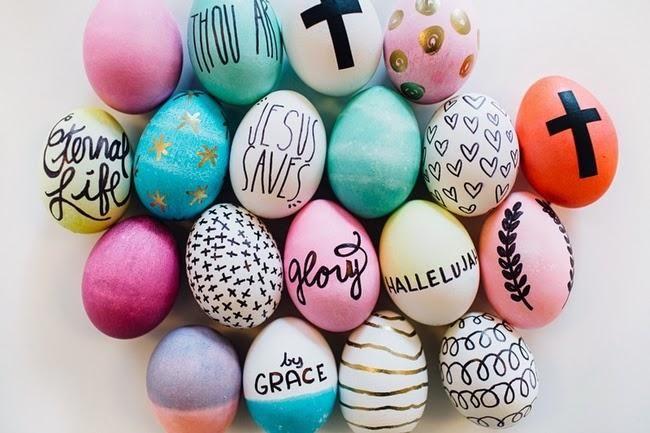 Huevos decorados para vender en Pascua.
