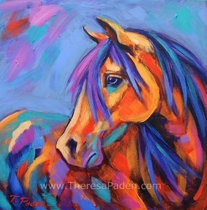 Affordable Original Horse Art in Bright Colors by Theresa Paden, painting by artist Theresa Paden