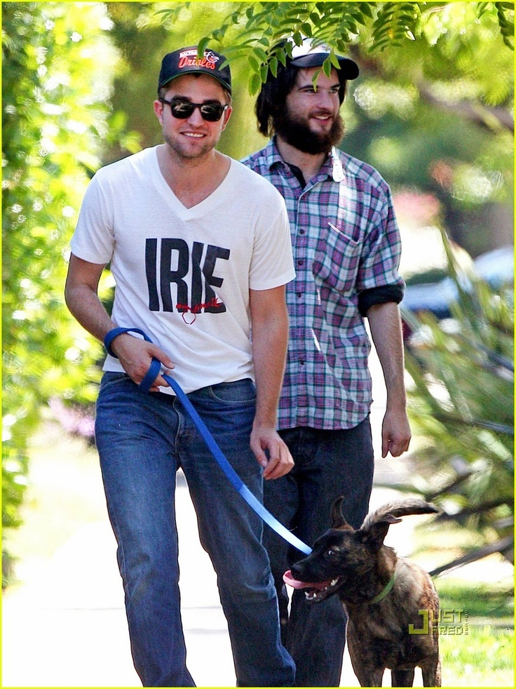 Robert Pattinson walks his dog, Bear (With images