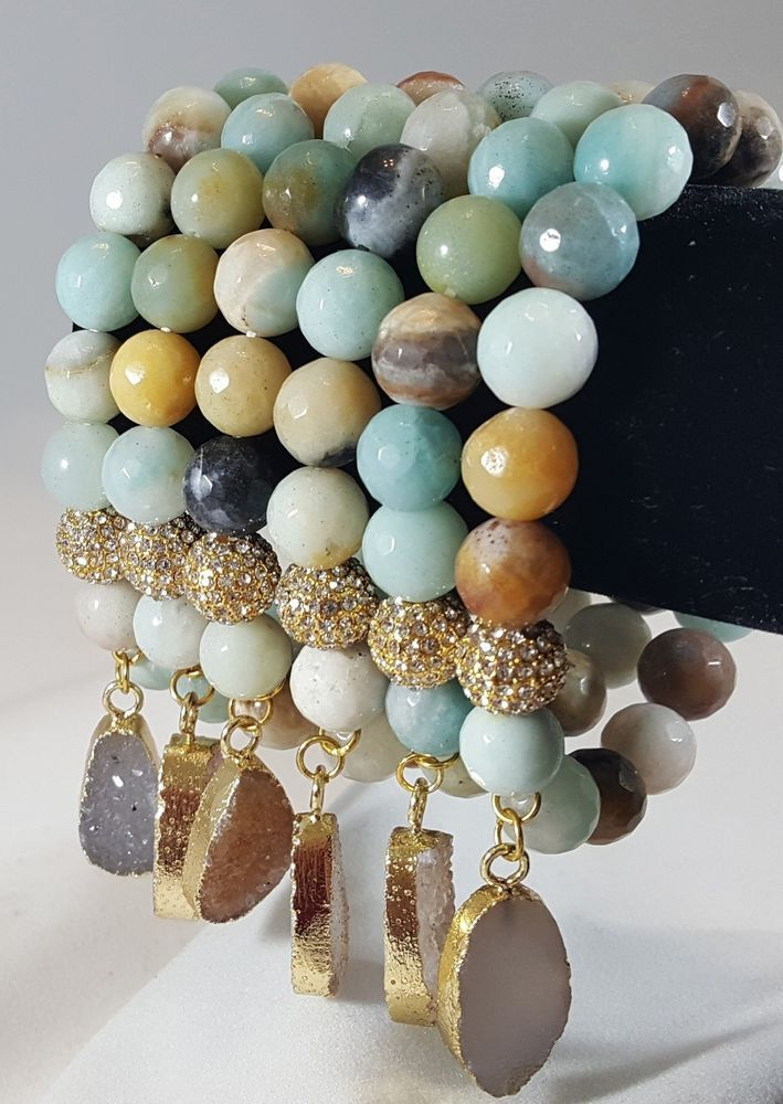 Amazonite Beaded bracelet with PaveSetting and Druzy Charm  High quality #Handmade