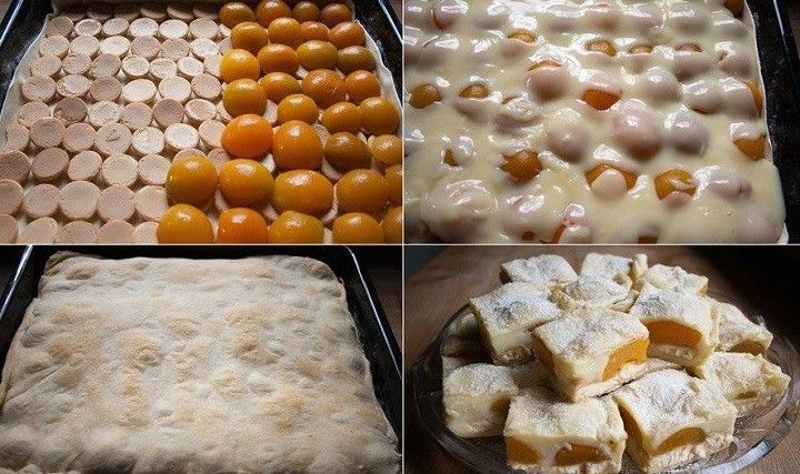 Elkészítése:1 csomag leveles tészta ,felét kisodorjuk és tepsibe rakjuk,majd rárakunk szorosan babapiskótát (gömbölyűt),erre barackkompótot ,utánna...