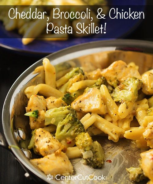 One skillet Cheddar, Broccoli and Chicken Pasta! The pasta cooks in the same skillet as everything else… one pot, easy, delicious!