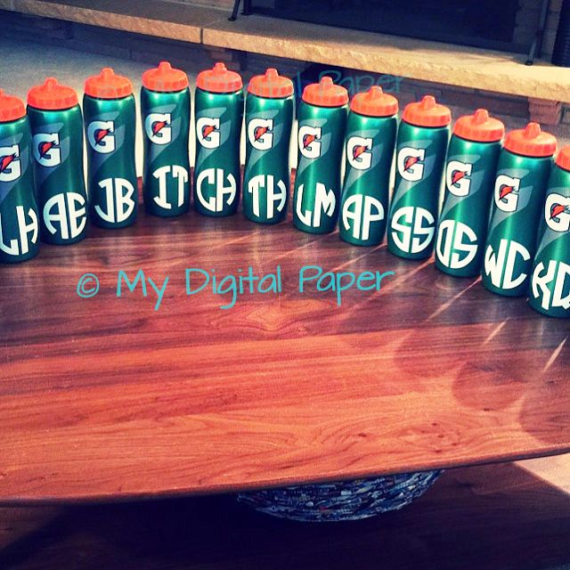 Monogram stickers on Gatorade bottles for child's party favor! You can truly use these monogram stickers on anything...notebooks, agendas, phone cases, gifts, and more!  mydigitalpaper.etsy.com has a great selection of stickers