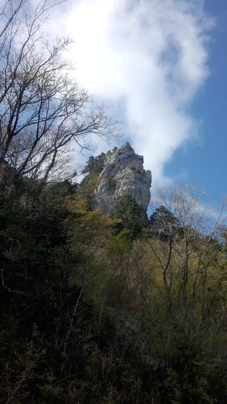 みょうたい岩。 その厳かな存在は現在でも地元の人の信仰の対象となっています。