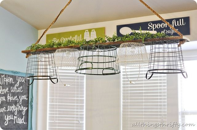Inspiration File: Basket Light Chandelier by All Things Thrifty - Home Stories A to Z