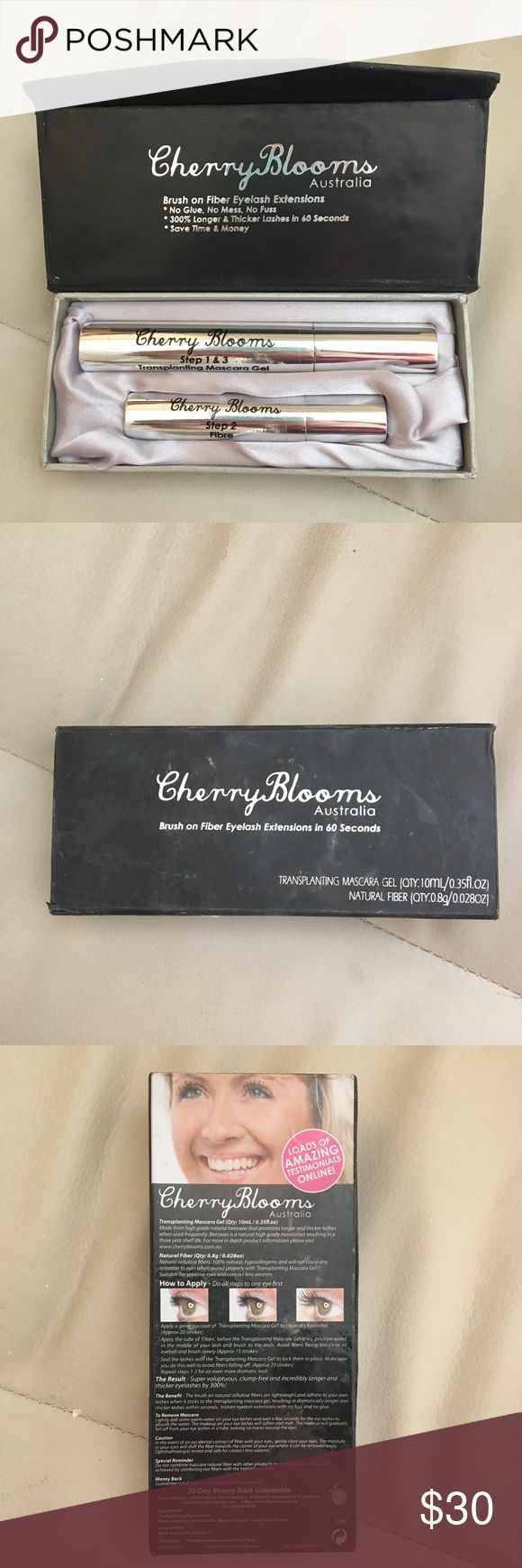 Cherry blooms Australia brush on fiber eyelash 2 step brush on eyelash extensions. Used.2 times. It works really well! I don't use much because my eyelashes are pretty long naturally. Makeup Mascara
