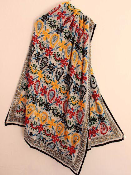 Buy Multicolor Handembroidered white dupatta. White  #phulkari   #embroidery   #dupatta    #handmade #whitedupatta #multicolordupatta #Shilphaat.com