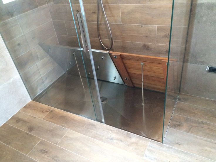 #Piatto #doccia P DRENO linea quadro #filopavimento in #acciaio #inox su misura By #SILVERPLAT