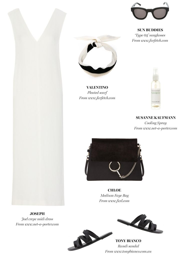 white dress + black bag + neck scarf + black slides | Outfit Inspiration | Harper and Harley