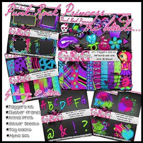 "My latest creation is this fantastic bright and funky kit called ""Punk Rock Princess"" I love this kit so much that I had my blog re-desig..."