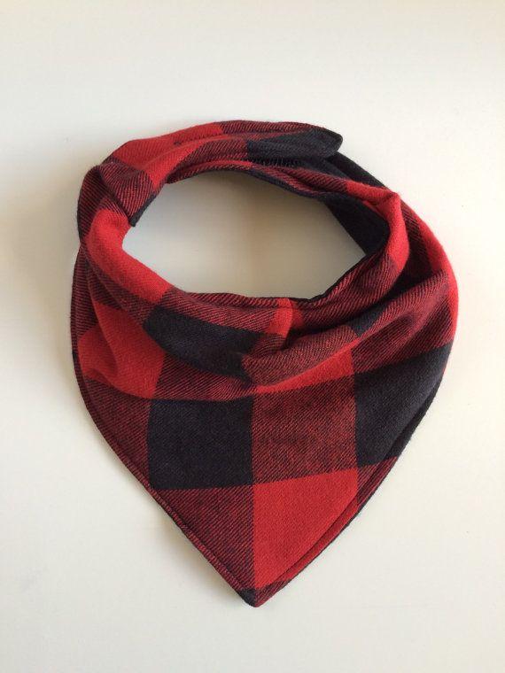 Lumberjack plaid baby bib, bandana scarf style. Available on Etsy.