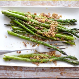 Asparagus with toasted bread crumbs and lemon zest- cant wait to try ...