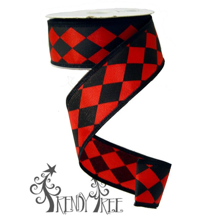 Black and Red Satin Harlequin Ribbon #trendytree #harlequin #valentine